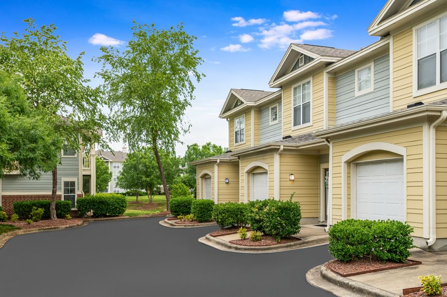 Townhome garages at Camden Governors Village Apartments in Chapel Hill, NC