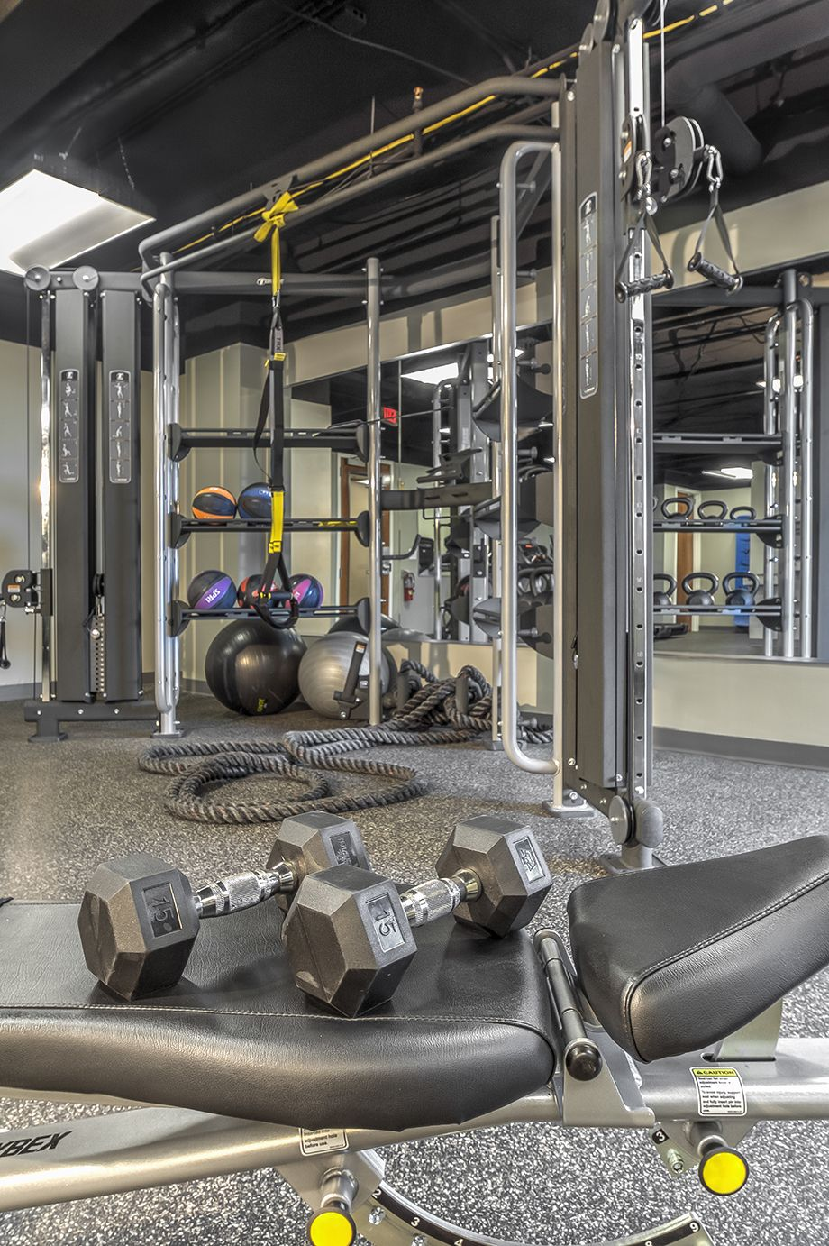Fitness center with free weights at Camden Grandview Townhomes in Charlotte, NC