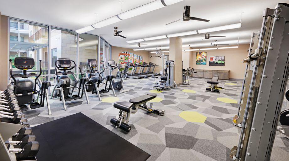 Extensive fitness center at Camden Lamar Heights in Austin, TX