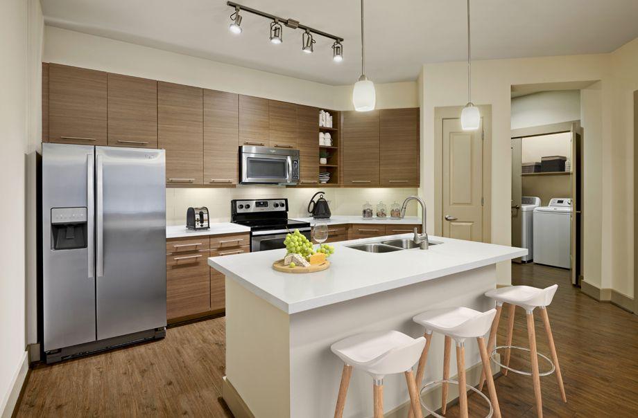 Kitchen with island at Camden Lamar Heights in Austin, TX