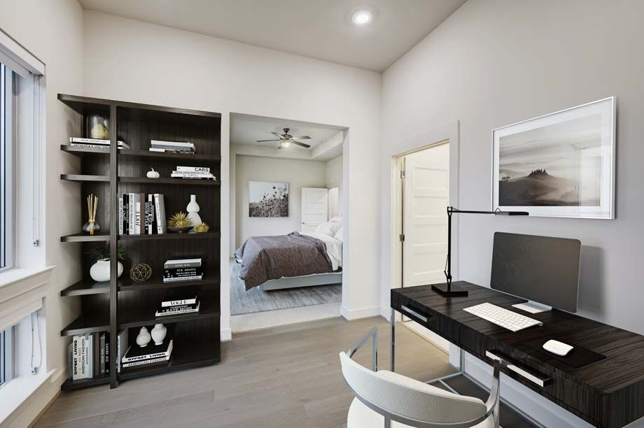 Camden McGowen Station Midtown Houston Townhomes bedroom with office