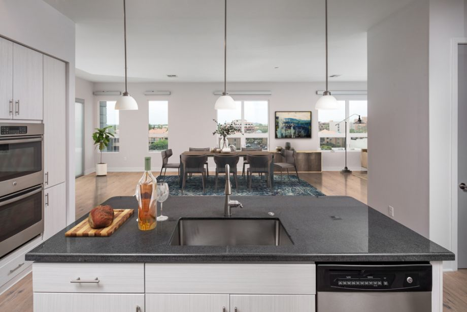 Large Kitchen Island in Penthouse Unit at Camden Old Town Scottsdale Apartments in Scottsdale, Arizona