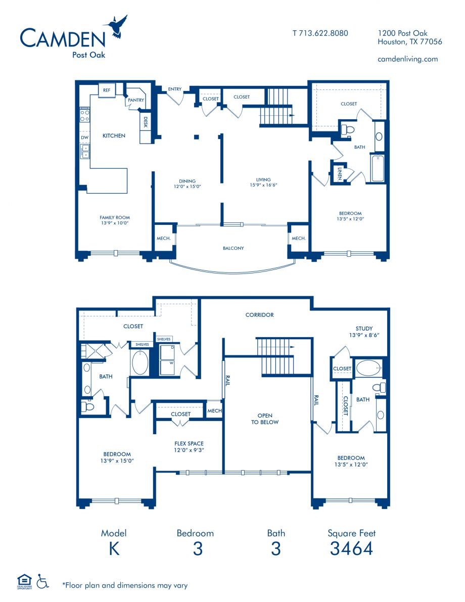 Three Bedroom Penthouse Apartment Floor Plan Blueprint Image at Camden Post Oak High Rise Luxury Apartments in Houston Galleria, Texas
