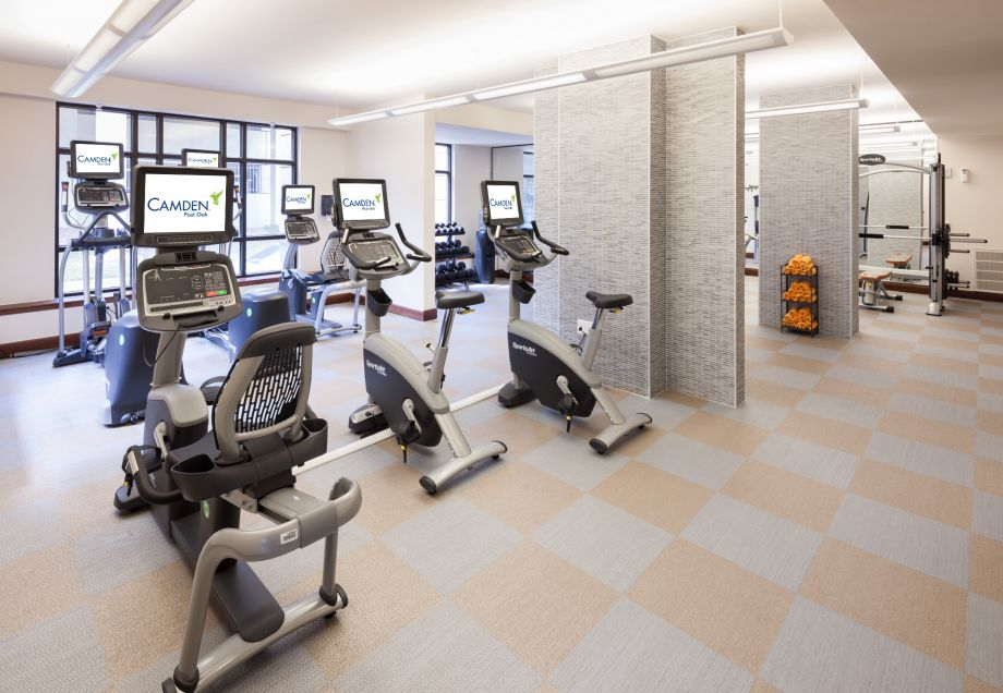 Fitness Center with Cardio Equipment at Camden Post Oak High Rise Luxury Apartments in Houston Galleria, Texas