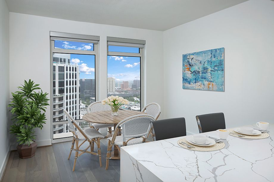 Penthouse Breakfast Nook at Camden Post Oak High Rise Luxury Apartments