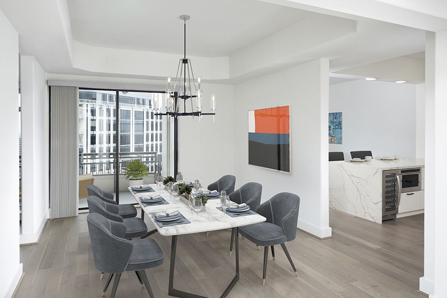 Penthouse Dining Room at Camden Post Oak High Rise Luxury Apartments