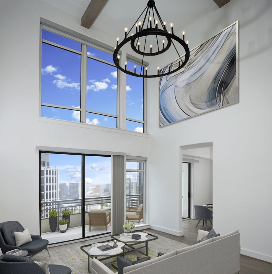 Penthouse Living Area with Galleria Views at Camden Post Oak High Rise Luxury Apartments