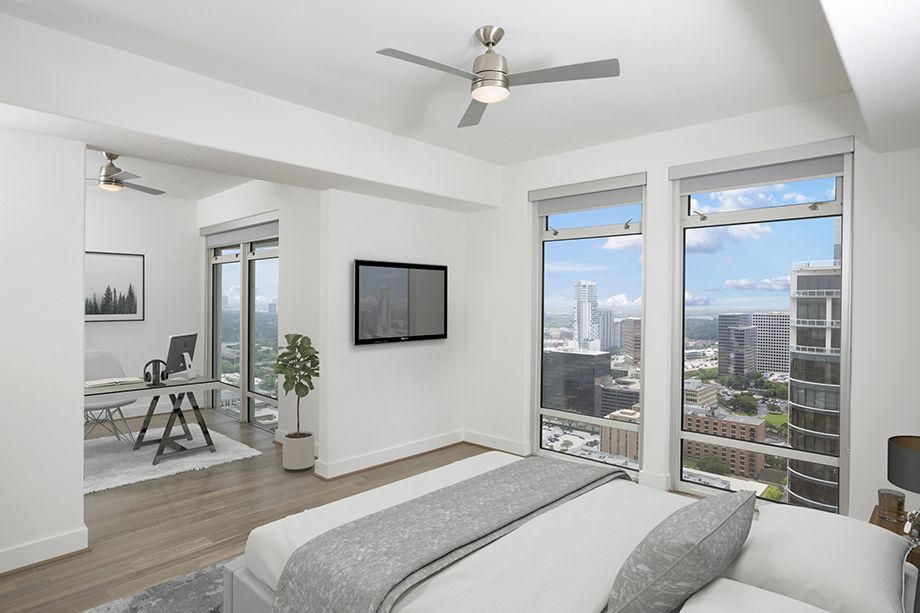 Penthouse Bedroom at Camden Post Oak High Rise Luxury Apartments