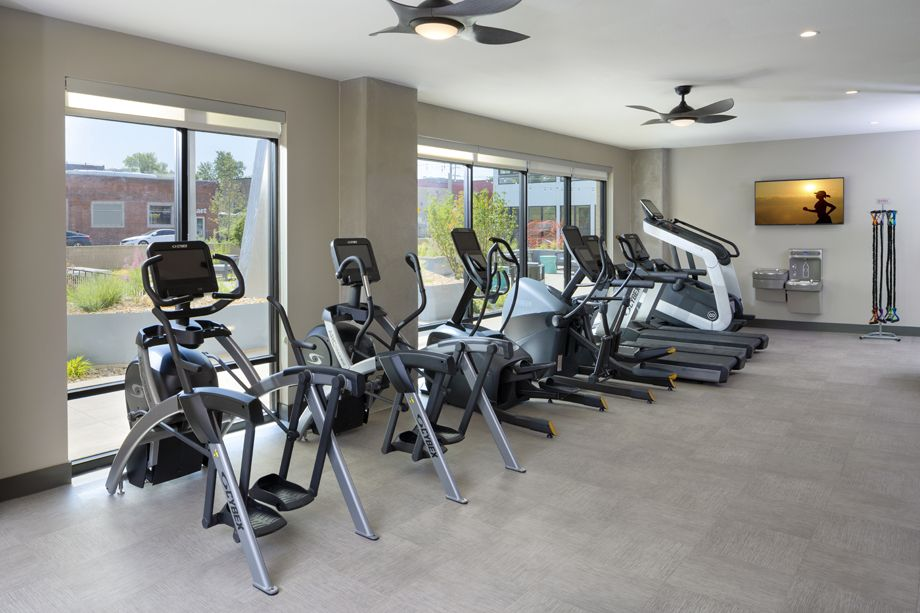 Camden RiNo apartments in Denver, Colorado live work fitness center with cardio machines
