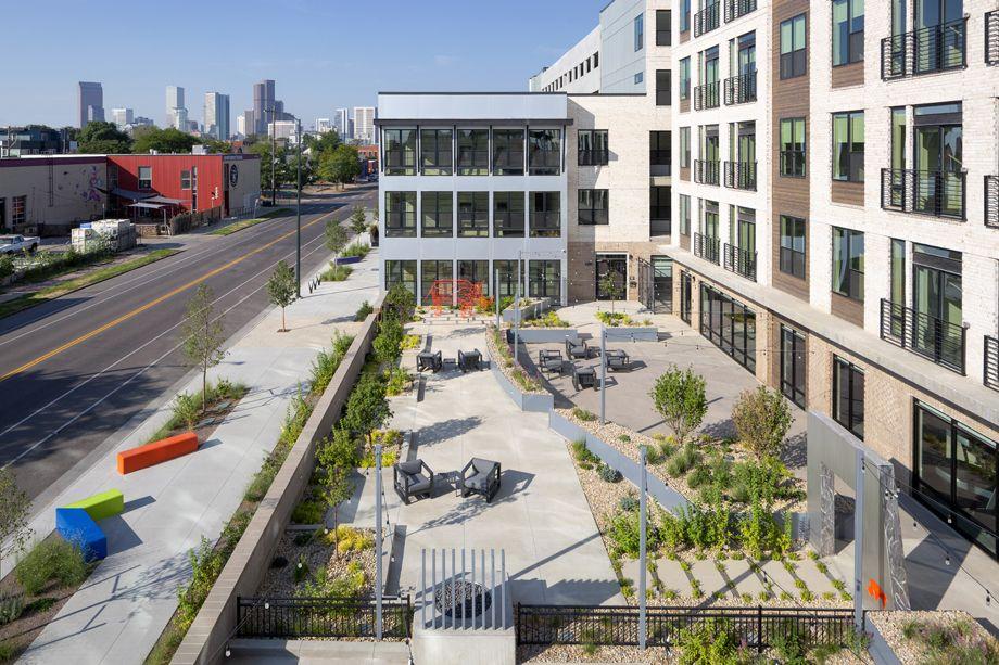 Camden RiNo apartments in Denver, Colorado live work outdoor lounge