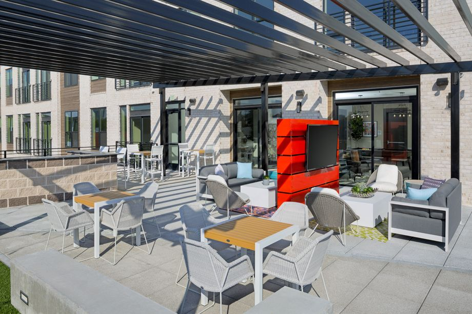 Camden RiNo apartments in Denver, Colorado live work deck with fireplace