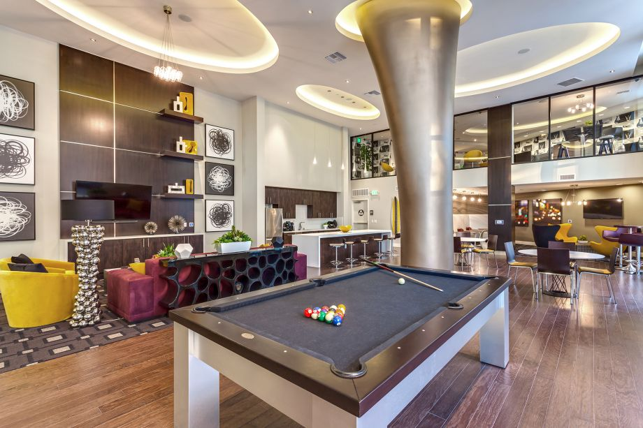Resident Lounge with Billiards at Camden Glendale apartments in Glendale, CA
