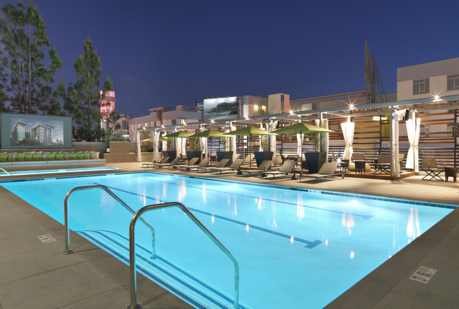Swimming Pool at Night at The Camden Apartments in Hollywood, CA