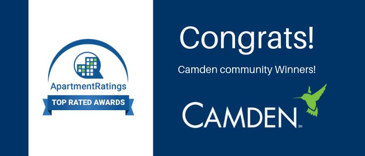 Camden ApartmentRatings.com Award winners