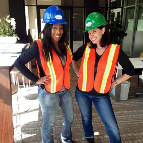 Camden employees touring a Camden community that is under construction in Glendale, California