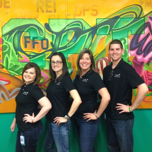 Camden's Business Services department representing their Camden pride in matching Camden polo shirts