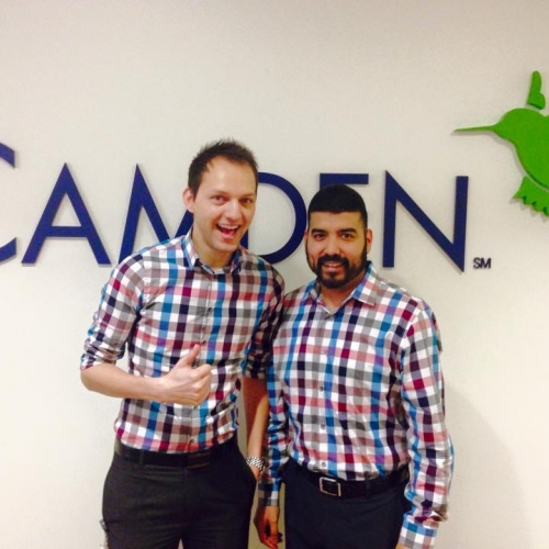 Camden employees dressed alike at the corporate office in Houston, Texas