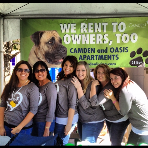 Camden employees showing that Camden apartments are pet-friendly