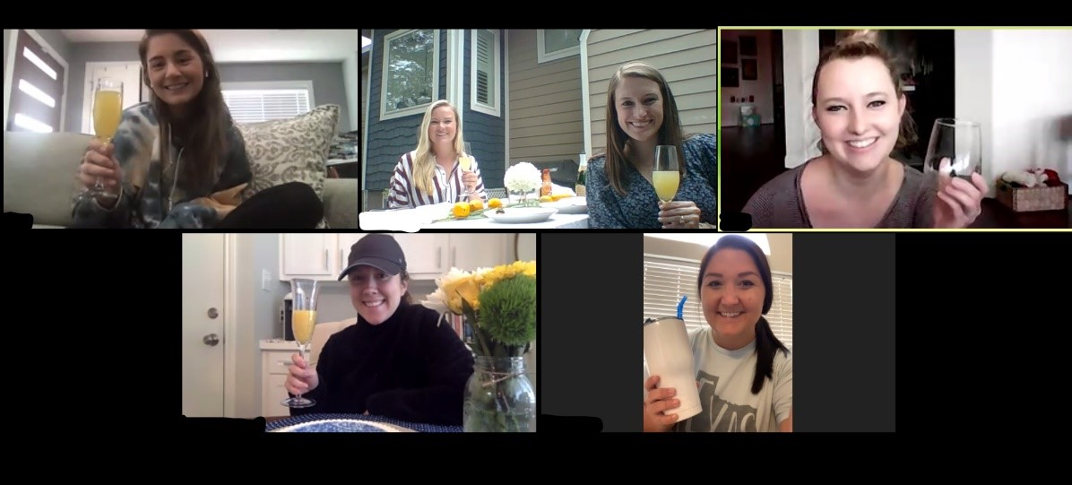 Friends enjoying a happy hour via Zoom